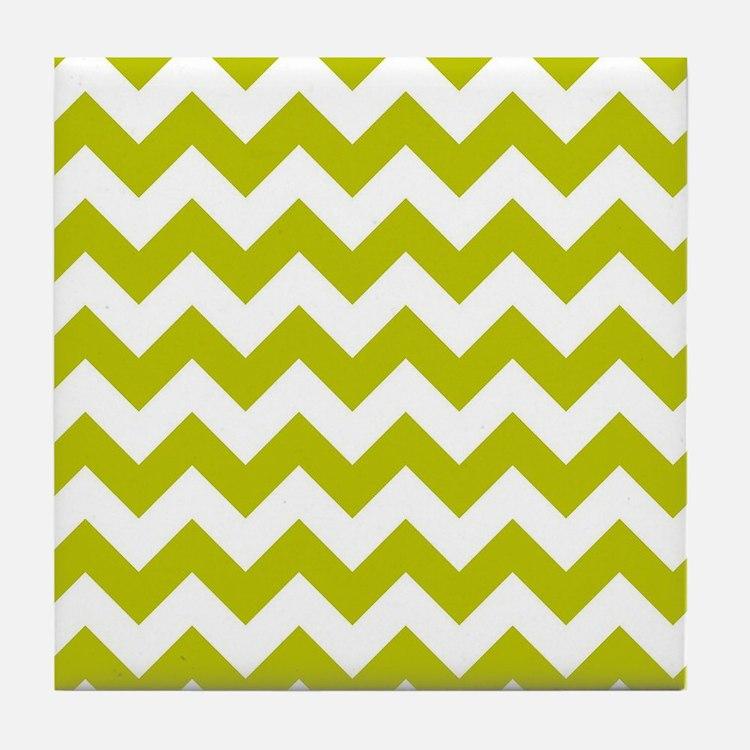 Chartreuse Green Herringbone Tile Coaster