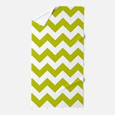 Chartreuse Green Herringbone Beach Towel