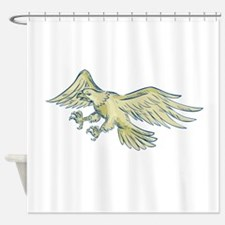 Bald Eagle Swooping Etching Shower Curtain