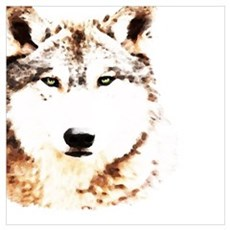 Green Eyed Wolf Poster
