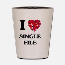 I Love Single File Shot Glass