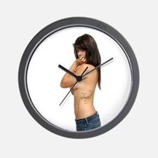 Topless Brunette with Tattoos (1) Wall Clock