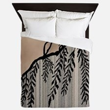Pinstripes, Willow, and Clouds Queen Duvet