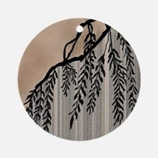 Pinstripes, Willow, and Clouds Round Ornament