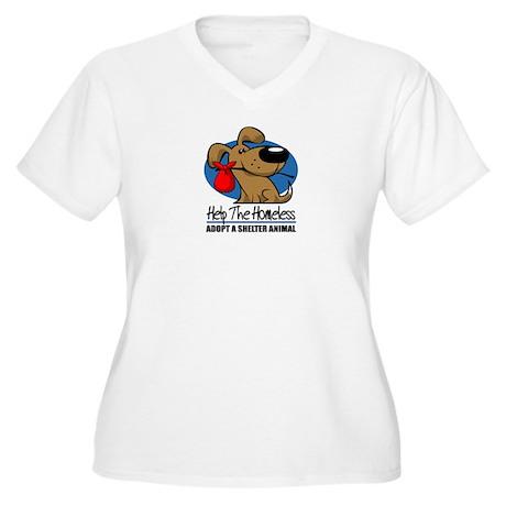 Homeless Pets Women's Plus Size V-Neck T-Shirt