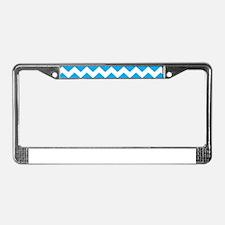 Blue Chevron License Plate Frame