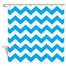 Blue Chevron Shower Curtain