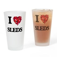 I love Sleds Drinking Glass