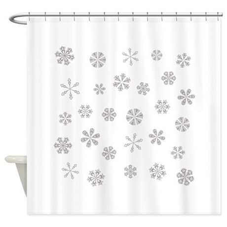 Silver White Snowflakes Pattern Shower Curtain By Sunnydaysdesign
