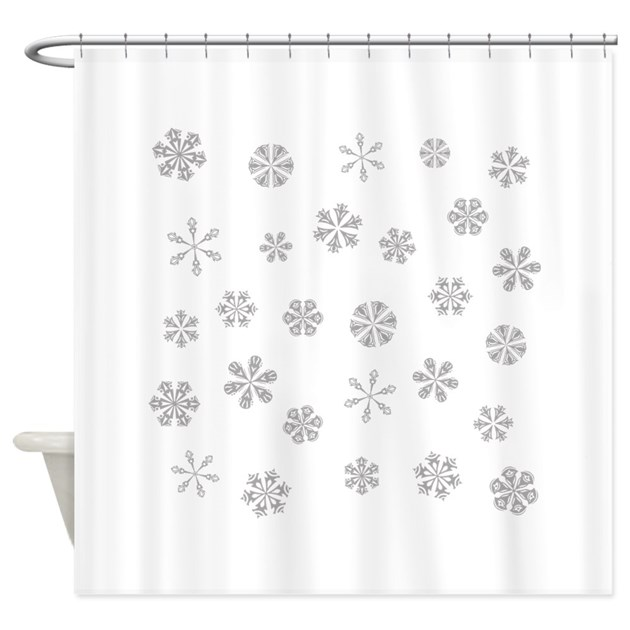 Silver White Snowflakes Pattern Shower Curtain By