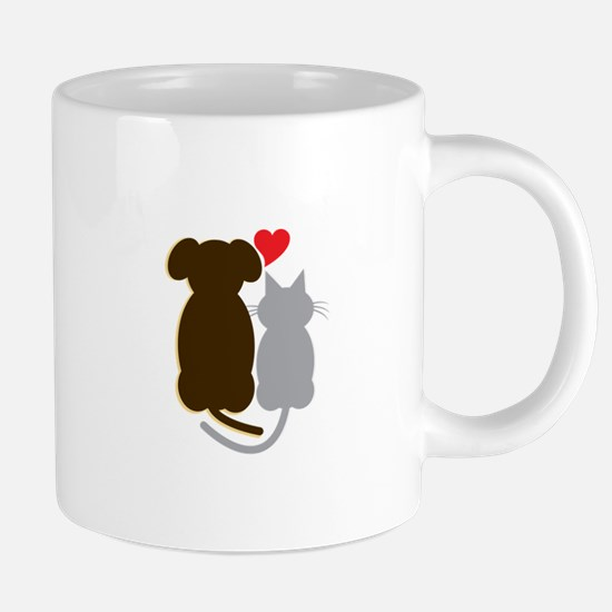 Dog Heart Cat Mugs