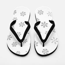 Silver White Snowflakes Pattern Flip Flops