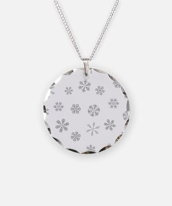 Silver White Snowflakes Pattern Necklace