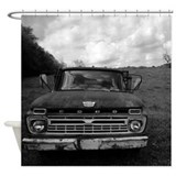 Black and white ford Shower Curtains