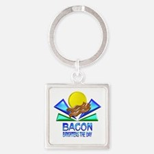 Bacon Brightens the Day Square Keychain