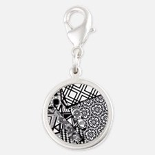 Chaos in Black and White Silver Round Charm