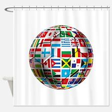 World Soccer Ball Shower Curtain