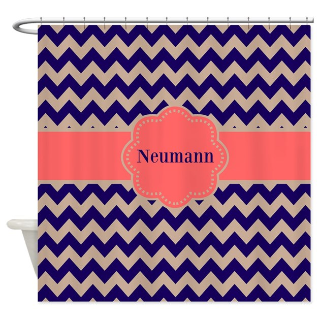 Navy Coral Chevron Personalized Shower Curtain By CupcakesandSprinklesBirthda
