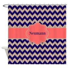 Navy Coral Chevron Personalized Shower Curtain