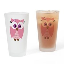 Cute Pink Owl Drinking Glass
