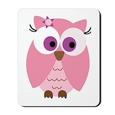 Cute Pink Owl Mousepad