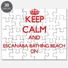 Keep calm and Escanaba Bathing Beach Michig Puzzle