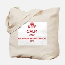 Keep calm and Escanaba Bathing Beach Mich Tote Bag