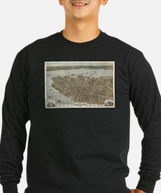 Vintage Pictorial Map of Charl Long Sleeve T-Shirt