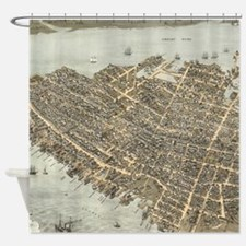 Vintage Pictorial Map of Charleston Shower Curtain