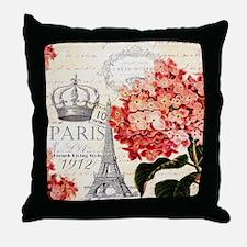 Paris hydrangea Throw Pillow