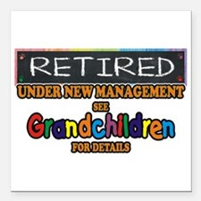 """Retired Under New Square Car Magnet 3"""" X 3&qu"""