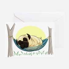 Pug In A Hammock Greeting Cards (pk Of 10)