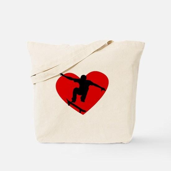 Skateboarding Heart Tote Bag