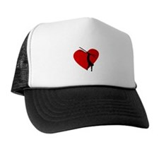 Skiing Heart Trucker Hat