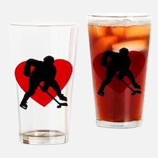Hockey Heart Drinking Glass