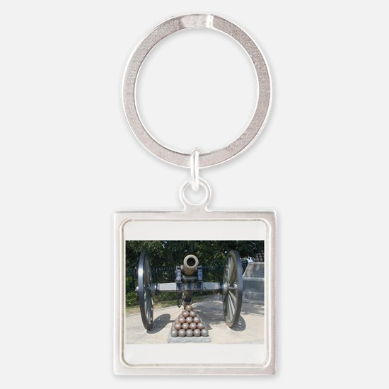 Civil War Cannon  Square Keychain