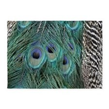 Elegant Peacock Feathers 5'x7'Area Rug