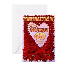 Ruby Anniversary Greeting Cards (pk Of 10)