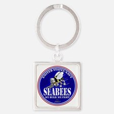 USN Seabees RWB Round Keychains