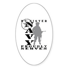 Sister Proudly Serves - NAVY Oval Decal