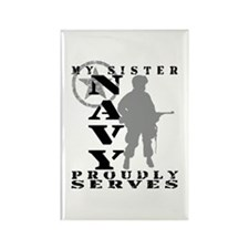 Sister Proudly Serves - NAVY Rectangle Magnet