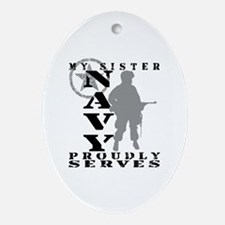 Sister Proudly Serves - NAVY Oval Ornament