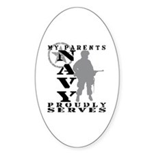 Parents Proudly Serves - NAVY Oval Decal