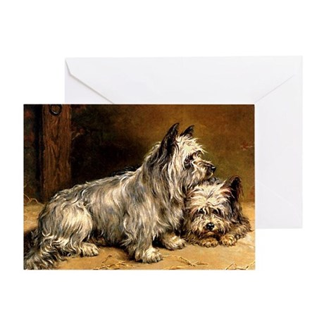 TWO TERRIERS Greeting Card