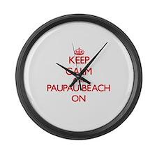 Keep calm and Paupau Beach Northe Large Wall Clock