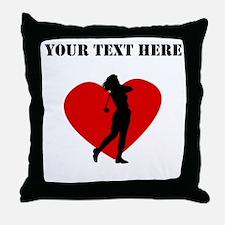 Golf Heart (Custom) Throw Pillow