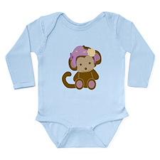 Girl Monkey Helmet Long Sleeve Infant Body Suit