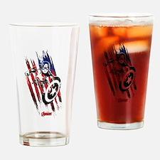 Captain America Flag Stripes Drinking Glass