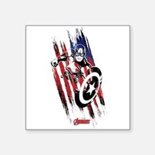 "Captain America Flag Stripe Square Sticker 3"" x 3"""