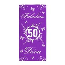 50th Birthday Fabulous Diva Beach Towel